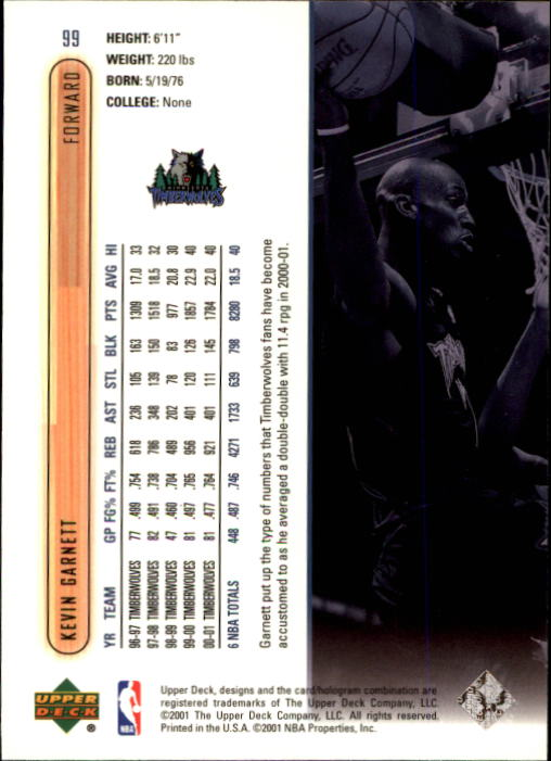 2001-02 Upper Deck #99 Kevin Garnett back image