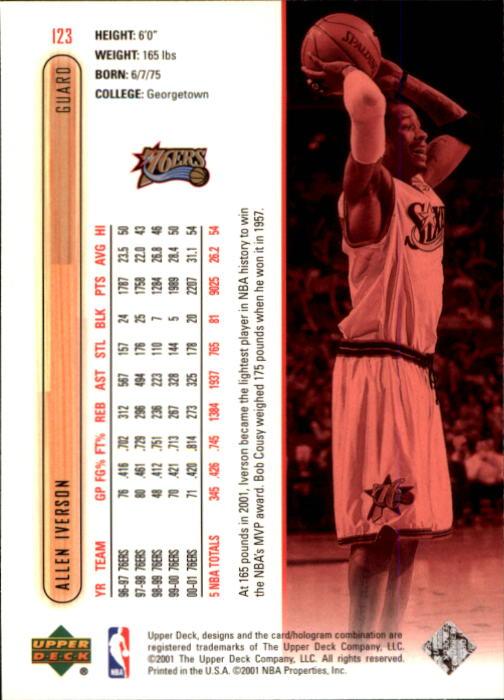 2001-02 Upper Deck #123 Allen Iverson back image
