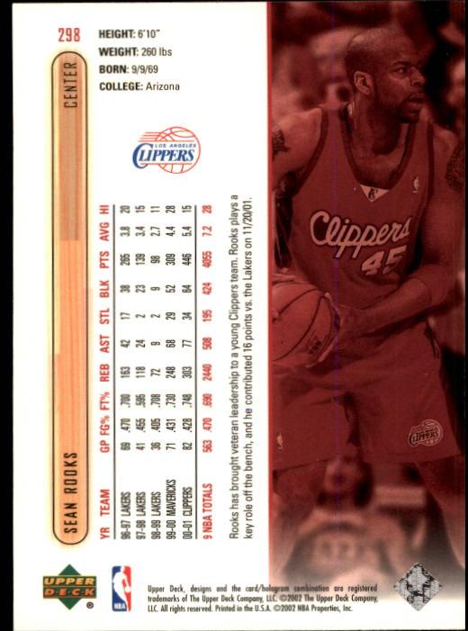 2001-02 Upper Deck #298 Sean Rooks back image