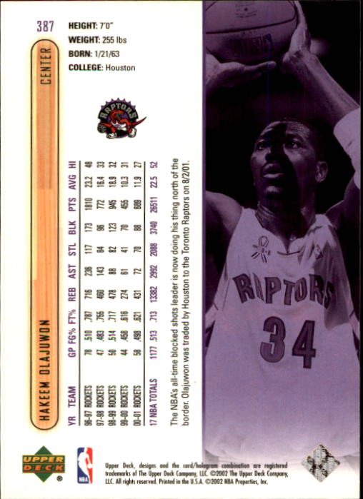 2001-02 Upper Deck #387 Hakeem Olajuwon back image