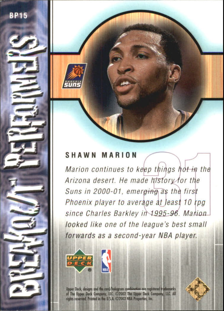 2001-02 Upper Deck Breakout Performers #BP15 Shawn Marion back image