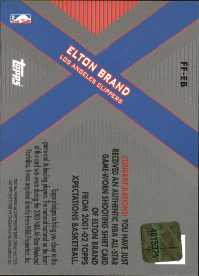 2001-02 Topps Xpectations Future Features #FFEB Elton Brand back image