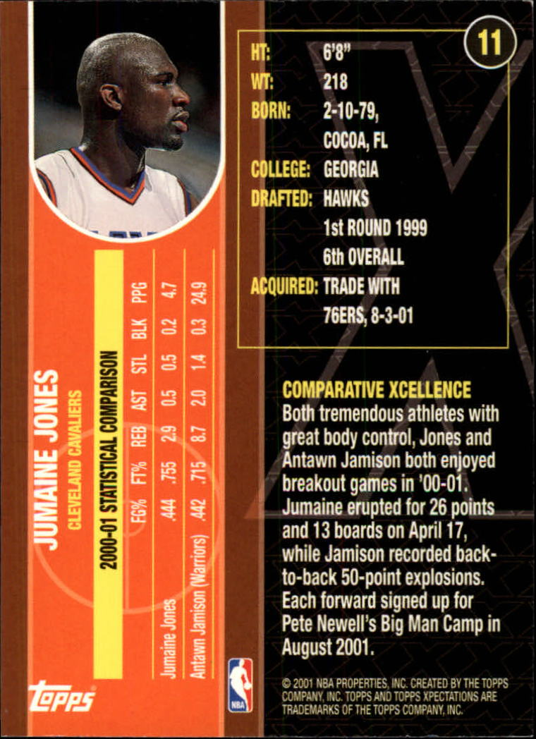 2001-02 Topps Xpectations #11 Jumaine Jones back image