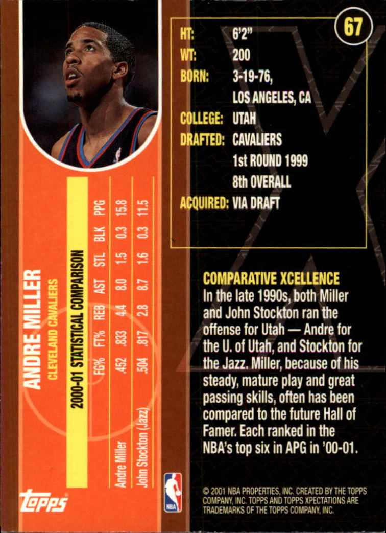 2001-02 Topps Xpectations #67 Andre Miller back image