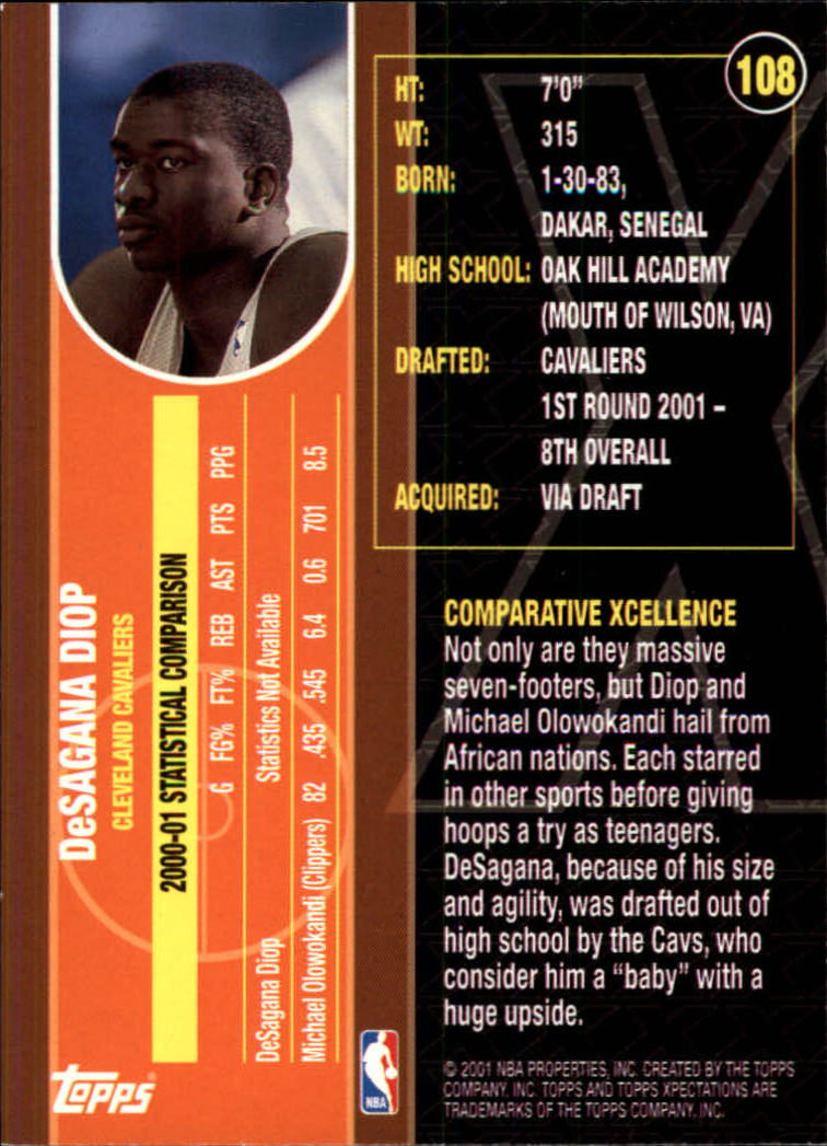 2001-02 Topps Xpectations #108 DeSagana Diop RC back image