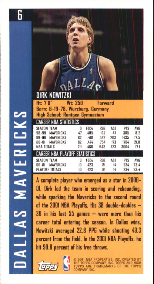 2001-02 Topps High Topps #6 Dirk Nowitzki back image