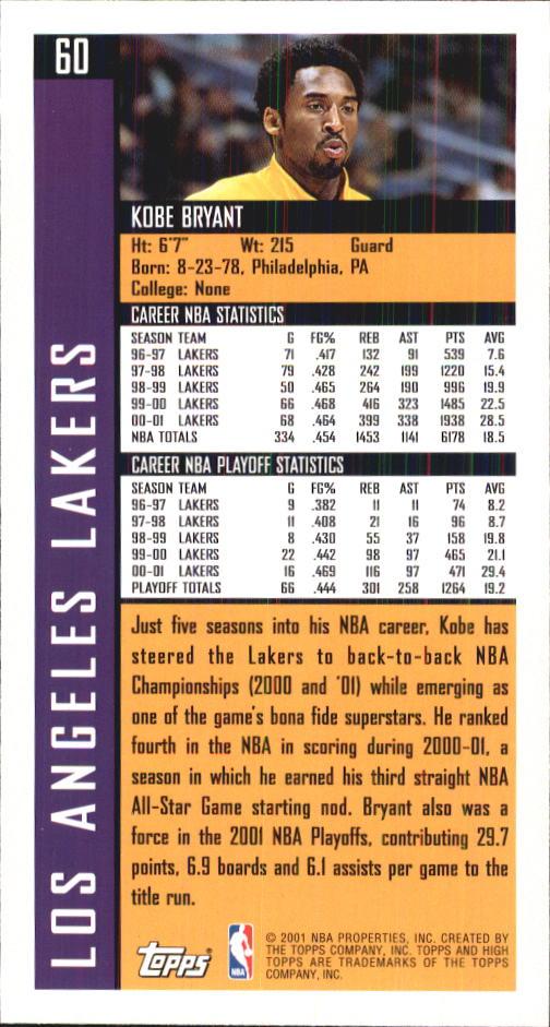 2001-02 Topps High Topps #60 Kobe Bryant back image