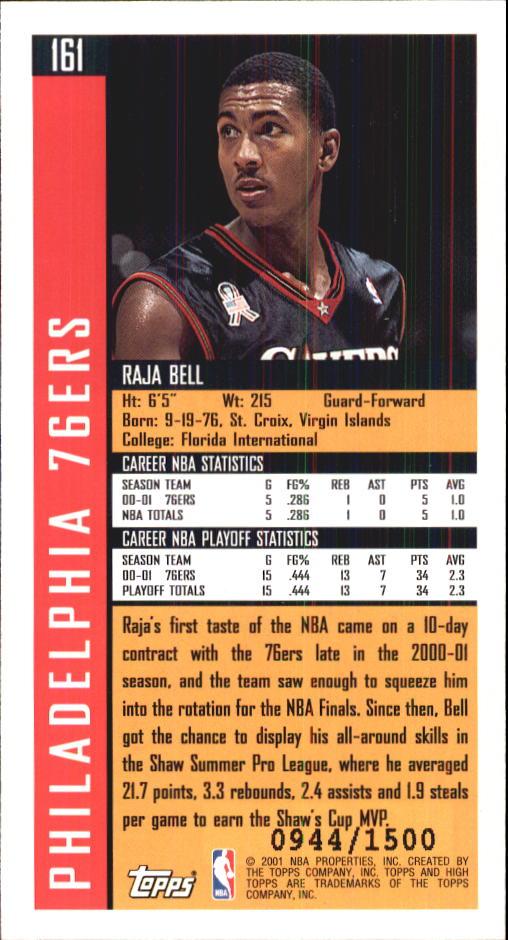2001-02 Topps High Topps #160 Tony Parker RC back image