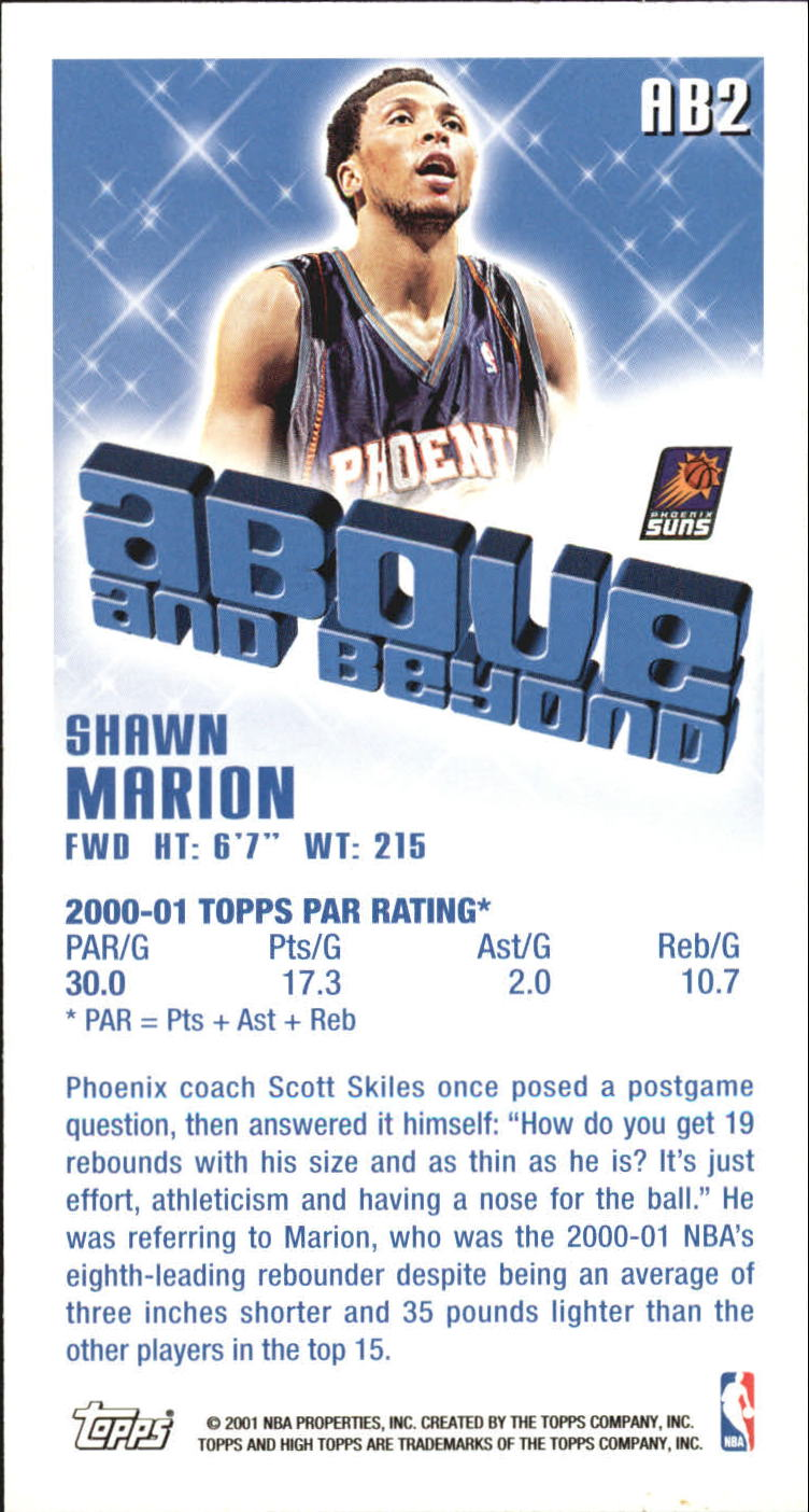 2001-02 Topps High Topps Above and Beyond #AB2 Shawn Marion back image