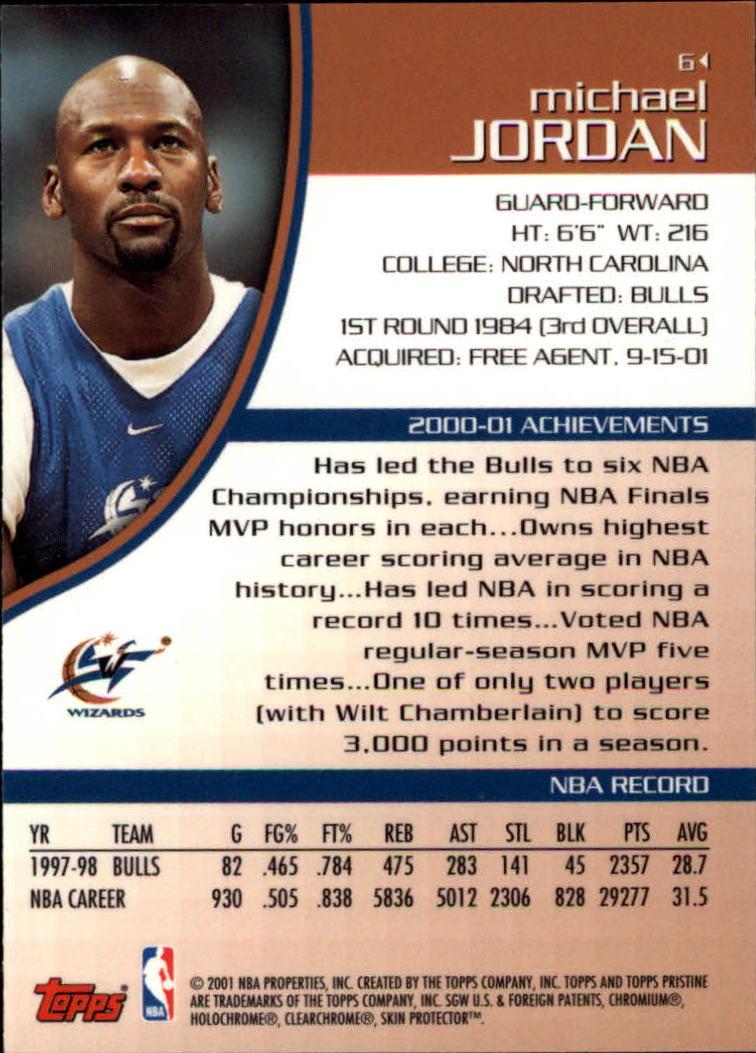2001-02 Topps Pristine #6 Michael Jordan back image