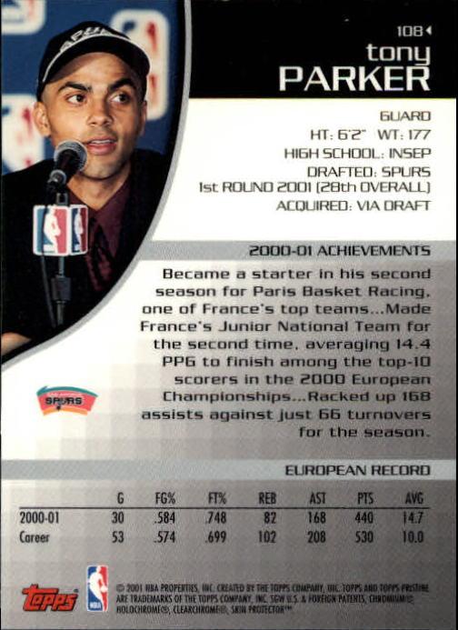 2001-02 Topps Pristine #108 Tony Parker C RC back image
