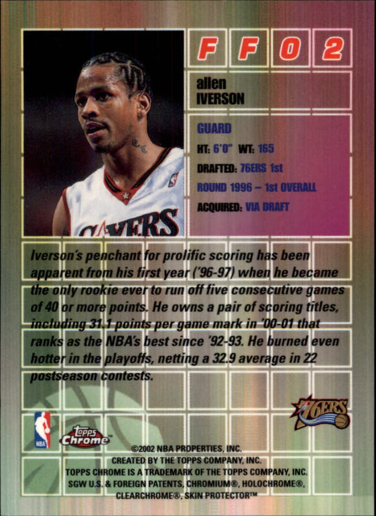 2001-02 Topps Chrome Fast and Furious #FF2 Allen Iverson back image
