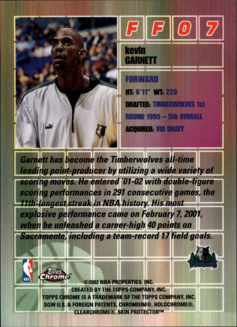2001-02 Topps Chrome Fast and Furious #FF7 Kevin Garnett back image