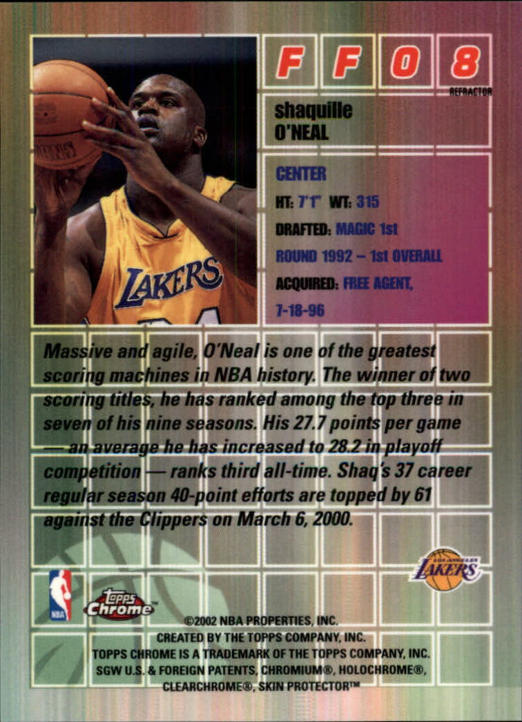 2001-02 Topps Chrome Fast and Furious Refractors #FF8 Shaquille O'Neal back image