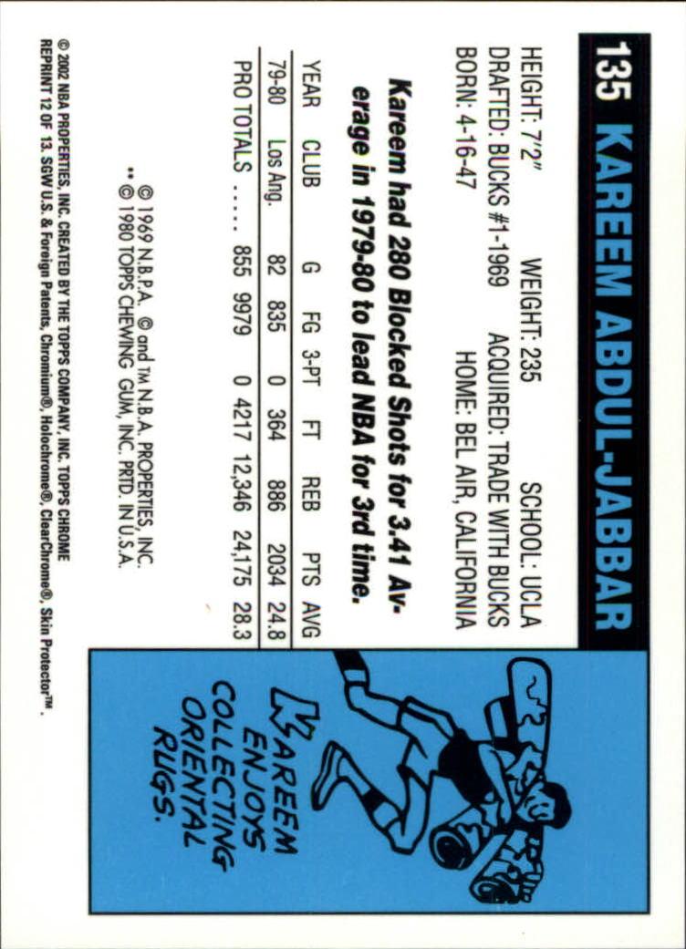 2001-02 Topps Chrome Kareem Abdul-Jabbar Reprints #12 Kareem Abdul-Jabbar back image