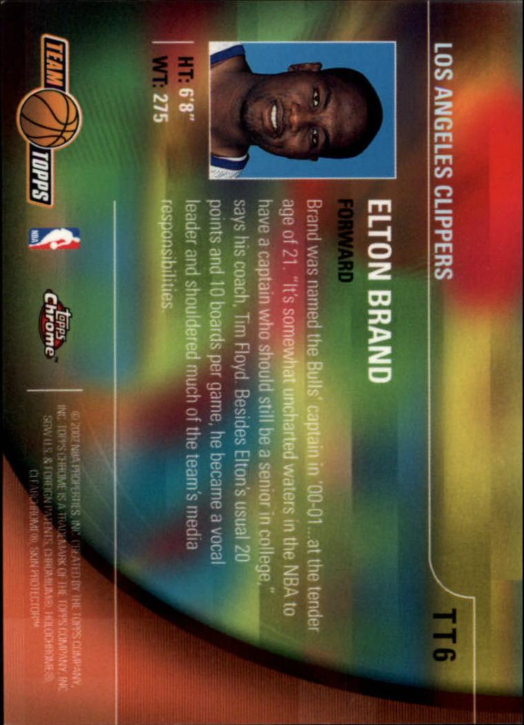 2001-02 Topps Chrome Team Topps #TT6 Elton Brand back image