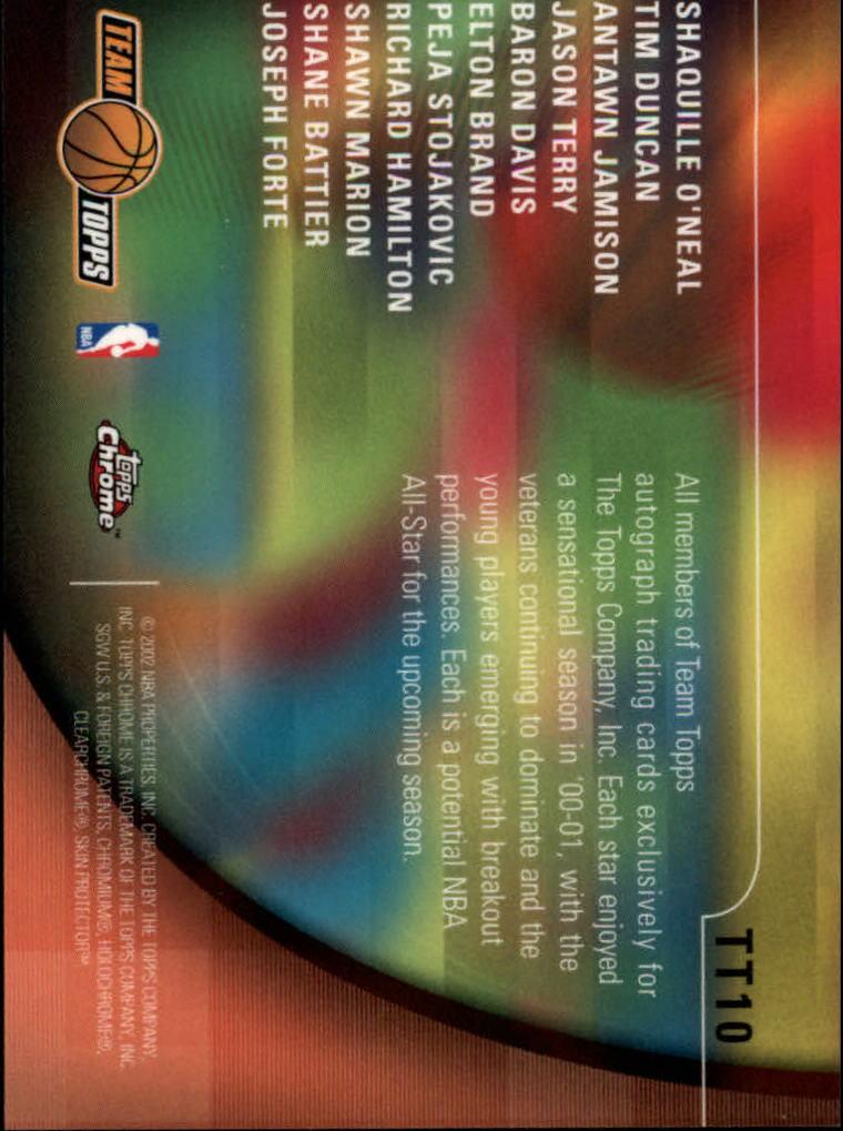 2001-02 Topps Chrome Team Topps #TT10 Team Photo back image