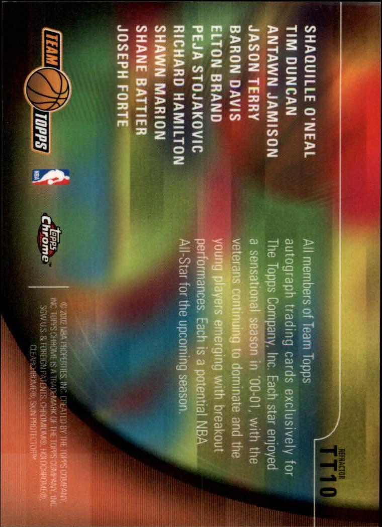 2001-02 Topps Chrome Team Topps Refractors #TT10 Team Photo back image