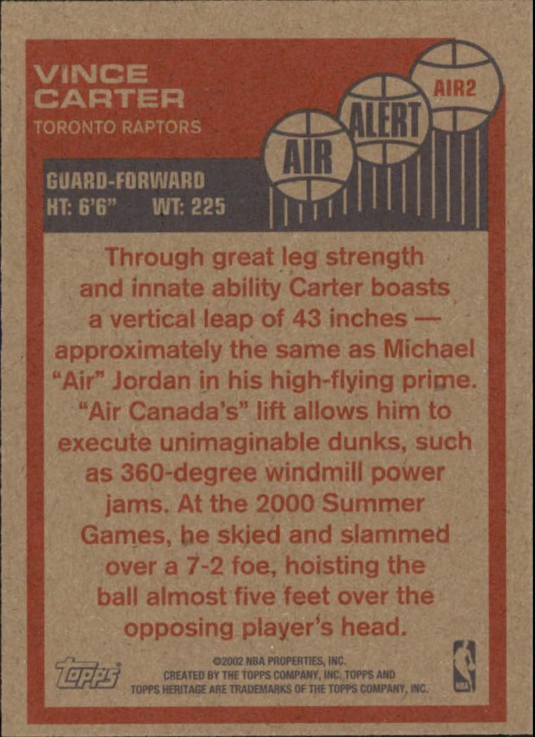 2001-02 Topps Heritage Air Alert #2 Vince Carter back image