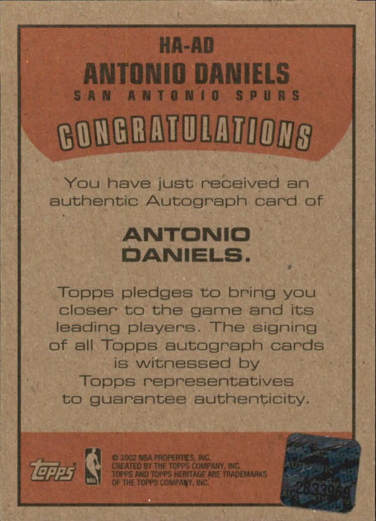 2001-02 Topps Heritage Autographs #1 Antonio Daniels back image