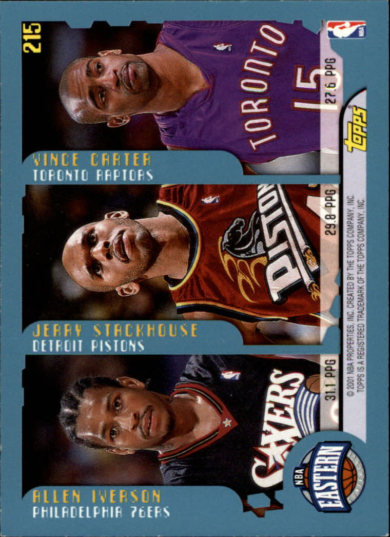 2001-02 Topps #215 Points Leaders/Shaquille O'Neal/Kobe Bryant/Chris Webber/Allen Iverson/Jerry Stackhouse/Vince Carter back image