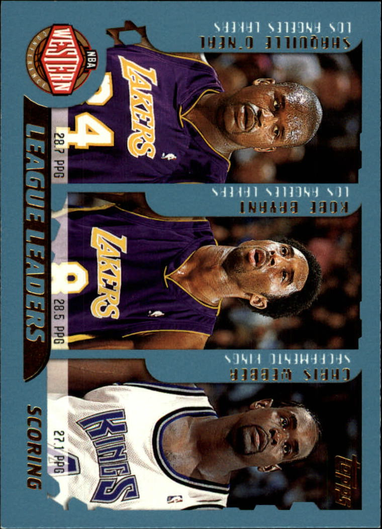 2001-02 Topps #215 Points Leaders/Shaquille O'Neal/Kobe Bryant/Chris Webber/Allen Iverson/Jerry Stackhouse/Vince Carter