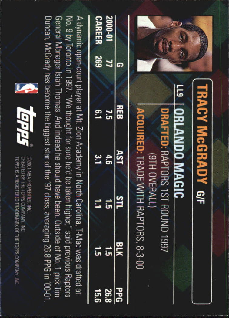 2001-02 Topps Lottery Legends #LL9 Tracy McGrady back image