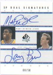 2001-02 SP Authentic Dual Signatures #MG/LB Magic Johnson/Larry Bird