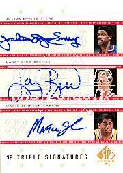 2001-02 SP Authentic Triple Signatures #DRLBMG Julius Erving/Larry Bird/Magic Johnson