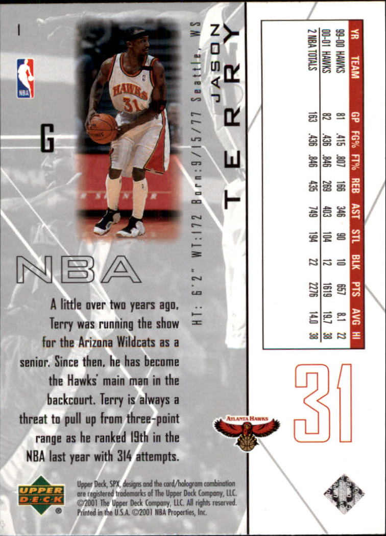 2001-02 SPx #1 Jason Terry back image