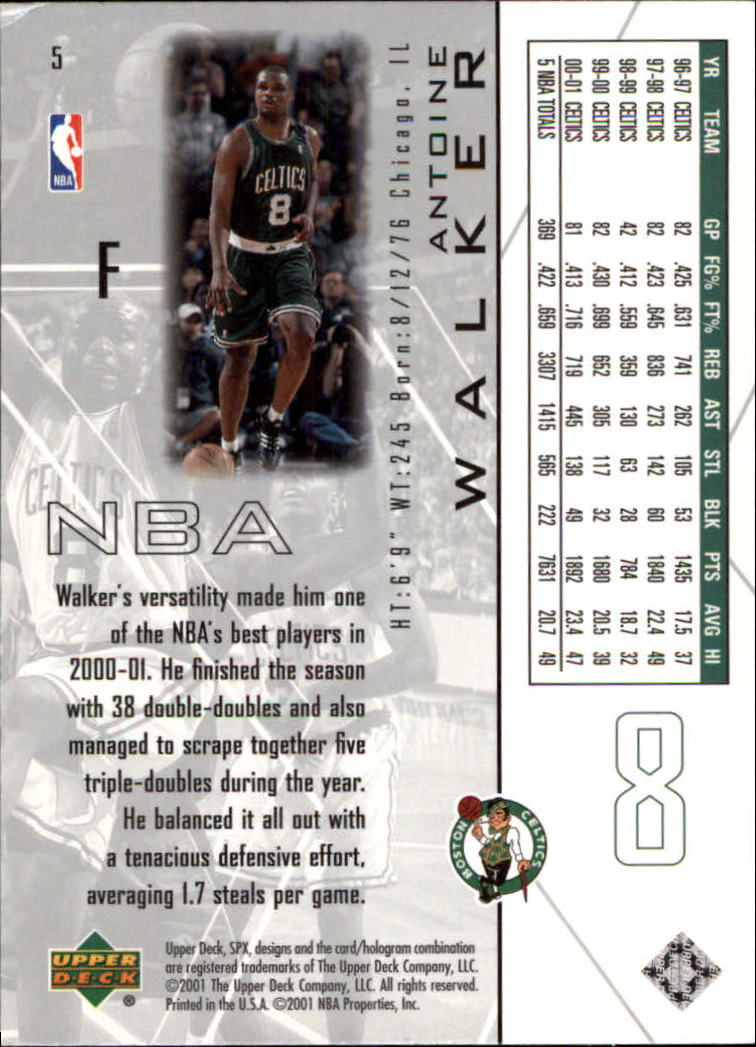 2001-02 SPx #5 Antoine Walker back image
