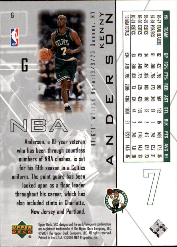 2001-02 SPx #6 Kenny Anderson back image