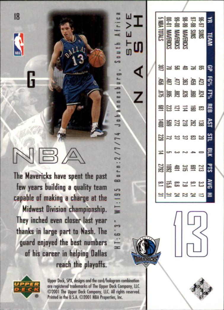 2001-02 SPx #18 Steve Nash back image