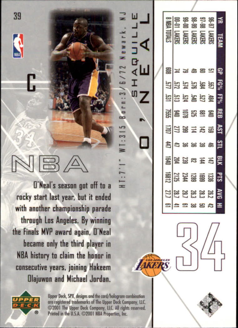 2001-02 SPx #39 Shaquille O'Neal back image