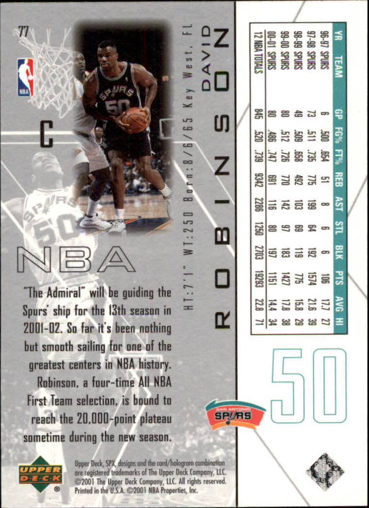 2001-02 SPx #77 David Robinson back image
