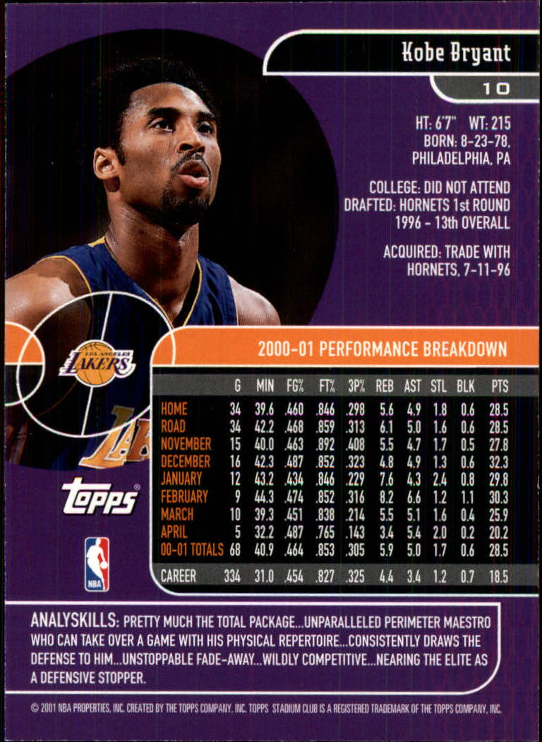 2001-02 Stadium Club #10 Kobe Bryant back image
