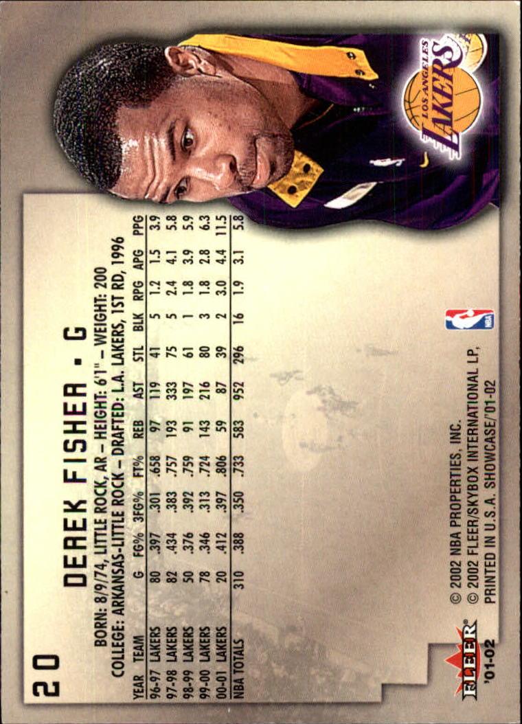 2001-02 Fleer Showcase #20 Derek Fisher back image