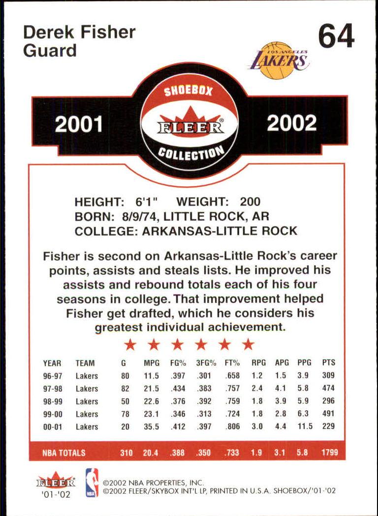 2001-02 Fleer Shoebox #64 Derek Fisher back image