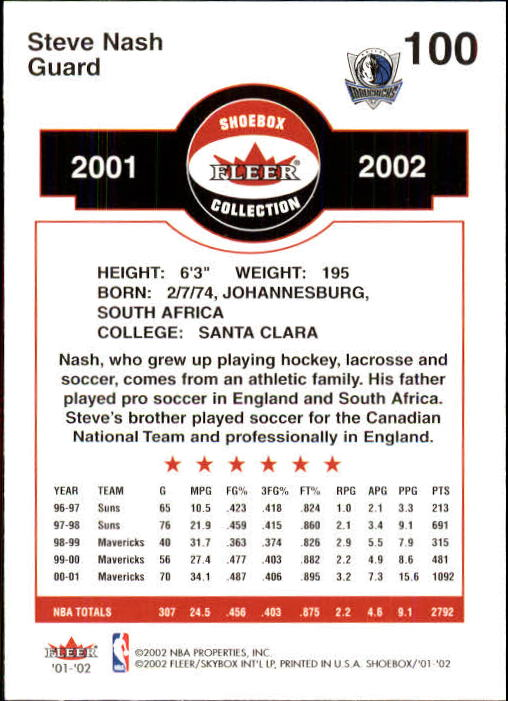 2001-02 Fleer Shoebox #100 Steve Nash back image