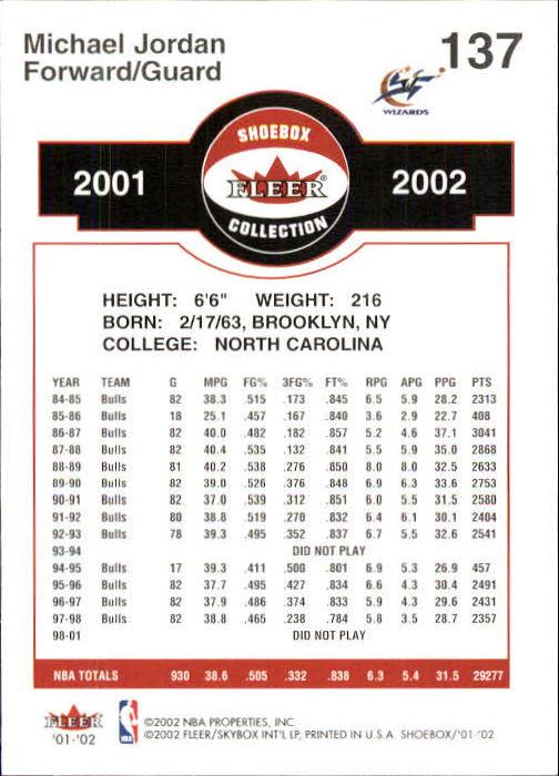 2001-02 Fleer Shoebox #137 Michael Jordan back image