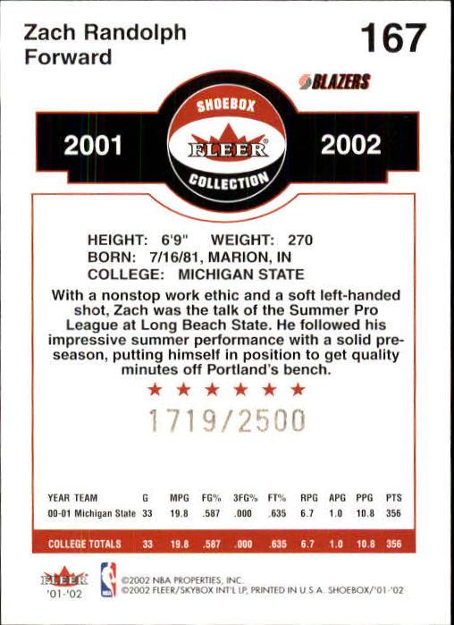 2001-02 Fleer Shoebox #167 Zach Randolph RC back image