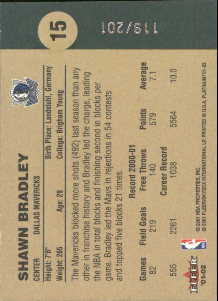 2001-02 Fleer Platinum Anniversary Edition #15 Shawn Bradley back image
