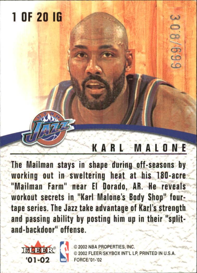 2001-02 Fleer Force Inside the Game #1 Karl Malone back image