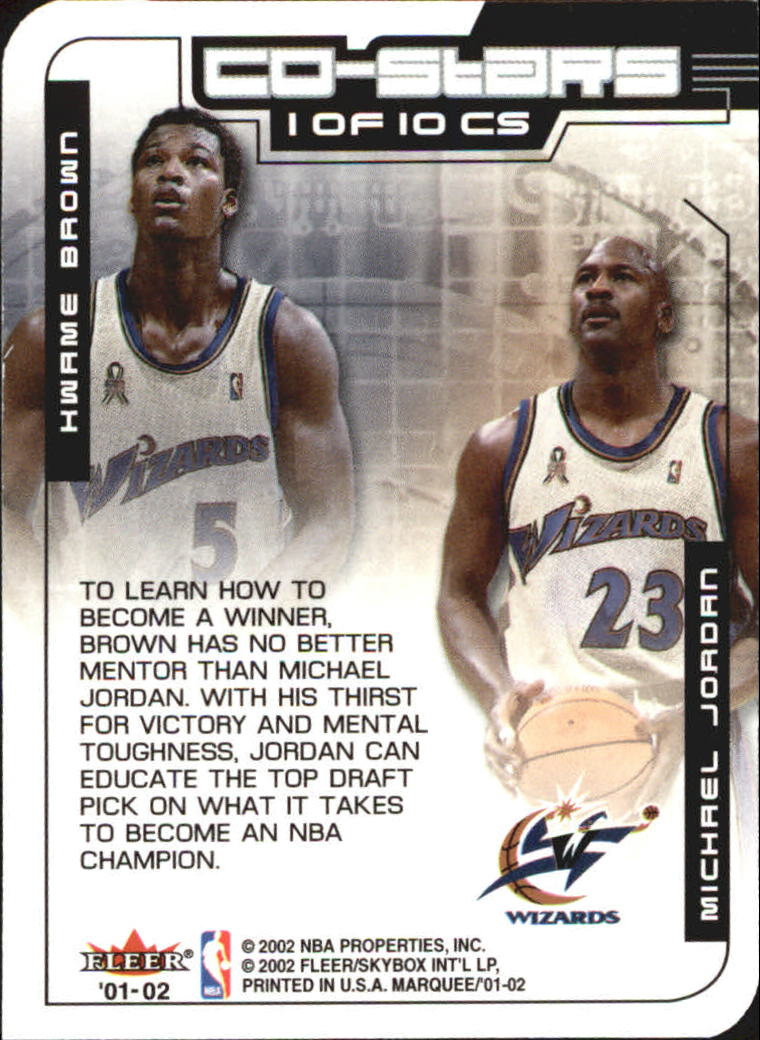 2001-02 Fleer Marquee Co-Stars #1 Michael Jordan/Kwame Brown back image