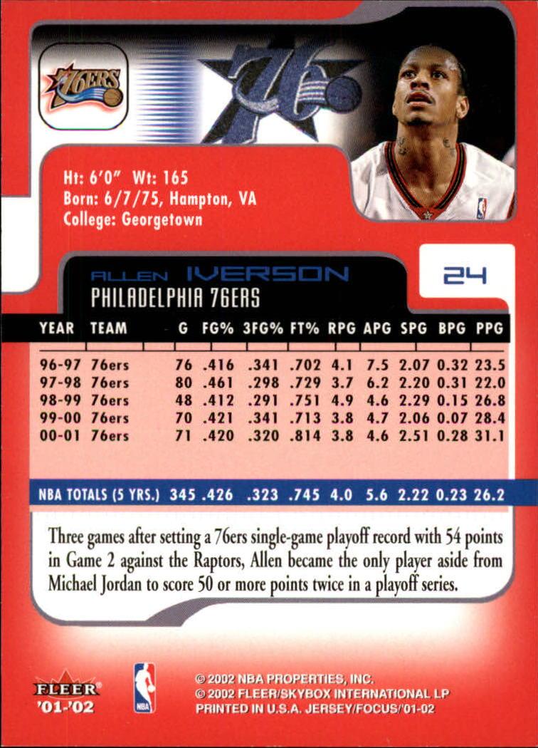 2001-02 Fleer Focus #24 Allen Iverson back image