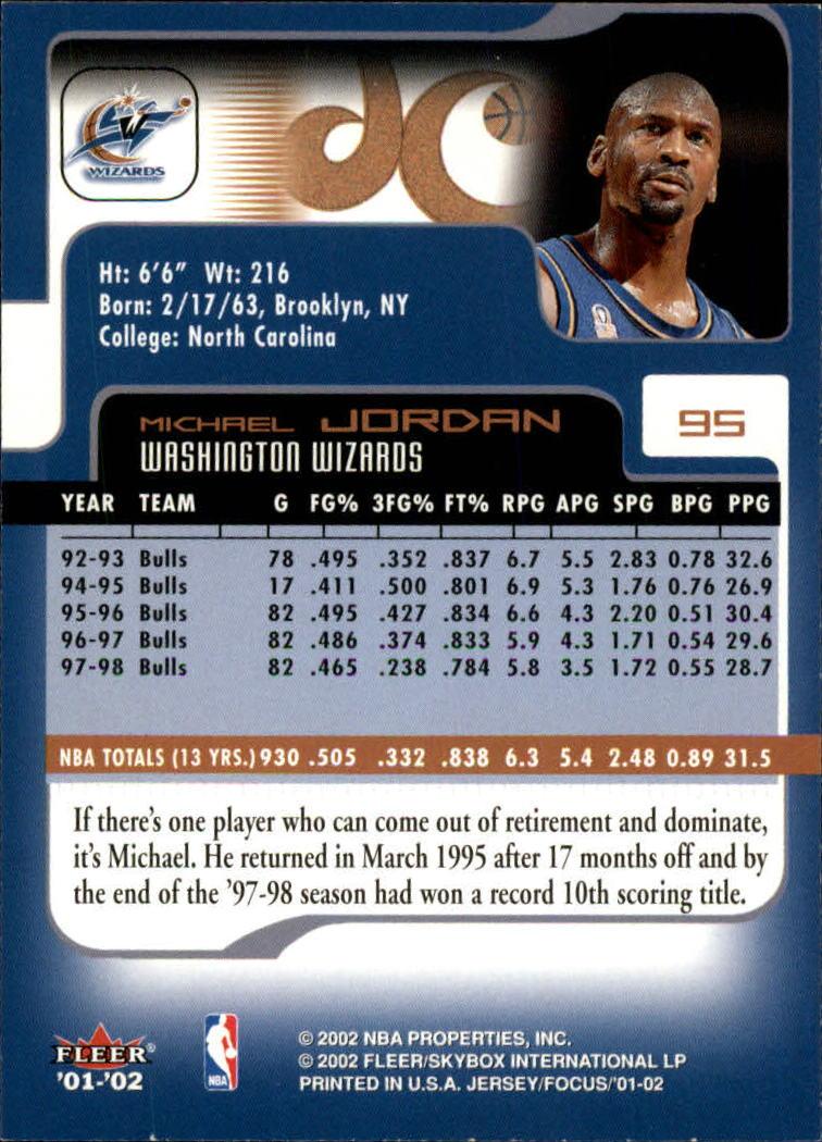 2001-02 Fleer Focus #95 Michael Jordan back image