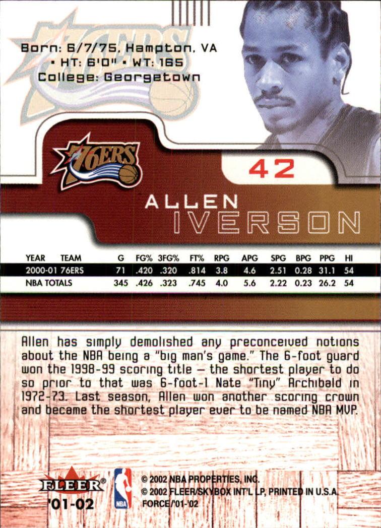 2001-02 Fleer Force #42 Allen Iverson back image