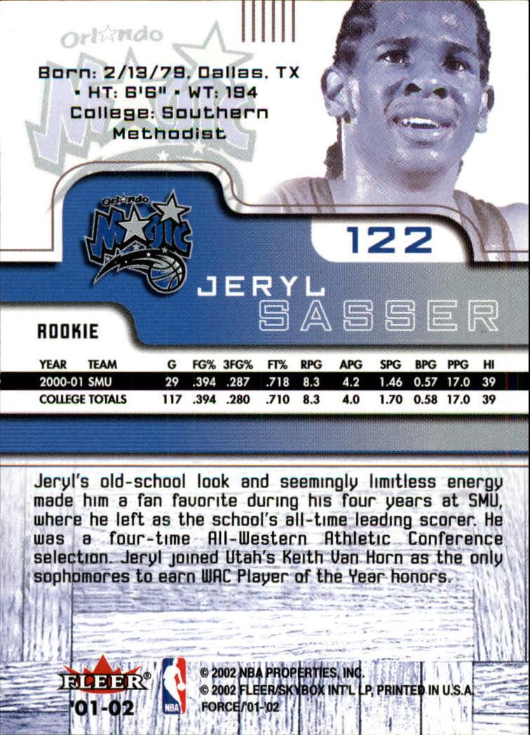 2001-02 Fleer Force #122 Jeryl Sasser RC back image