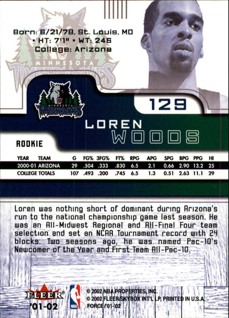 2001-02 Fleer Force #129 Loren Woods RC back image