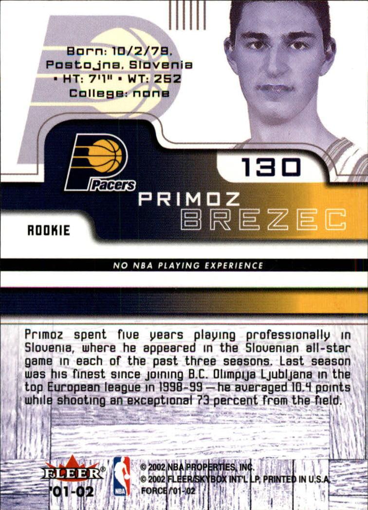 2001-02 Fleer Force #130 Primoz Brezec RC back image